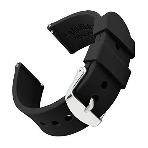 Archer Watch Straps - Uhrenarmbänder aus Silikon mit Schnellverschluss - Schwarz, 20mm