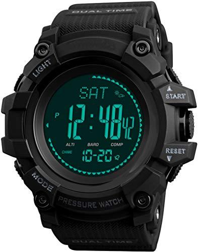 Kompass Schrittzähler Wettervorhersage Barometer Altimeter Höhenmesser Digital Armbanduhr Quarzuhr...
