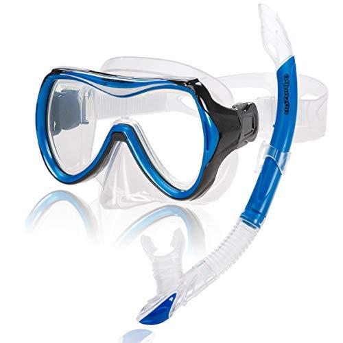 AQUAZON Capri Hochwertiges Schnorchelset, Tauchset, Schwimmset, Schnorchelbrille mit Tempered Glas,...