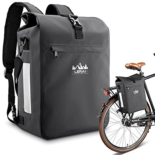 LERAI® 3in1 Fahrradtasche für Gepäckträger 18L, wasserdicht & reflektierend - Rucksack,...