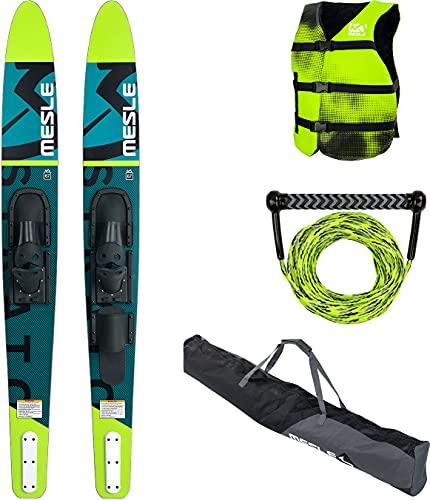 MESLE Wasser-Ski Set Strato 170 cm mit Weste Sportsman + Leine Combo + Tasche Universal, Anfänger...