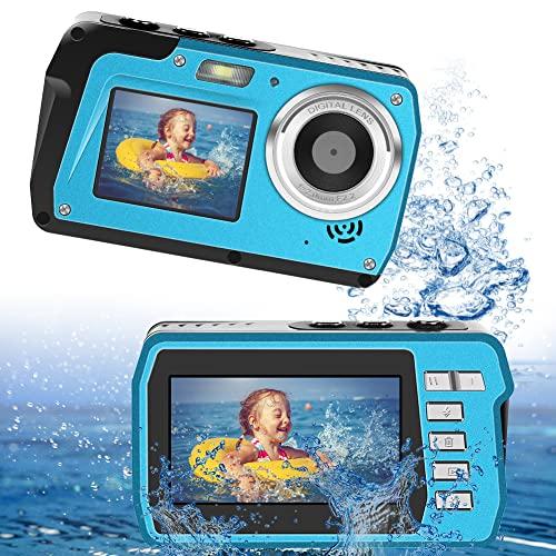 LongOu Unterwasserkamera 2,7K 48 MP Unterwasserkamera Selfie Dual Screens 16X Digitalzoom...